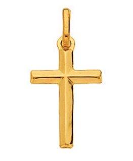 Pendentif Croix Or Jaune 750/1000 Fil Rond