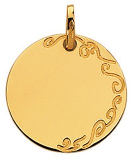MEDAILLE RONDE OR JAUNE 750-000