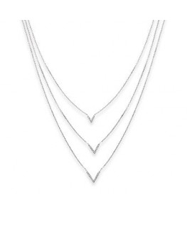 COLLIER ARGENT TRIPLE CHAINES OZ
