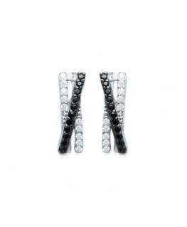 Boucles Argent Oxydes Noirs et Blancs