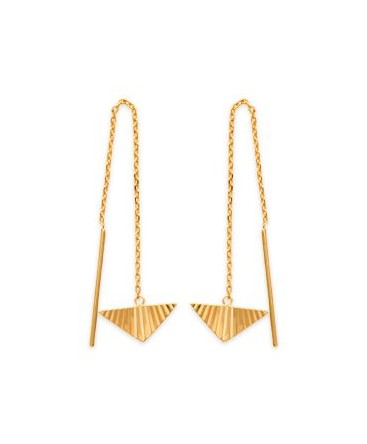 BOUCLES PL-OR CHAINE + BRELOQ-TRIANGLE