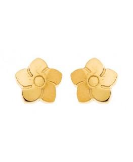 Boucles Puces Or Jaune 375/1000 Fleurs Bouton à Vis
