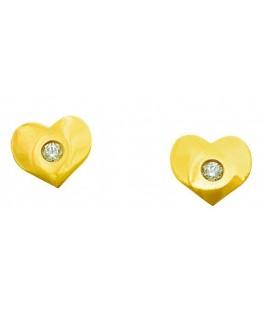 Boucles Puces Or Jaune 375/1000 Coeur à Vis + Oxyde de Zirconium