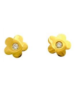 Boucles Puces Or Jaune 375-000 Fleurs à Vis + Oxyde de Zriconium