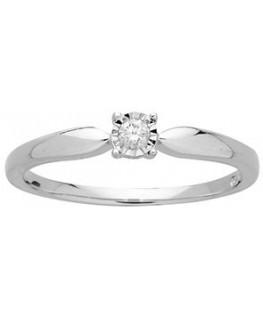 Bague Solitaire Or Gris 750/1000 Pastille Diamant 0.05 Carats