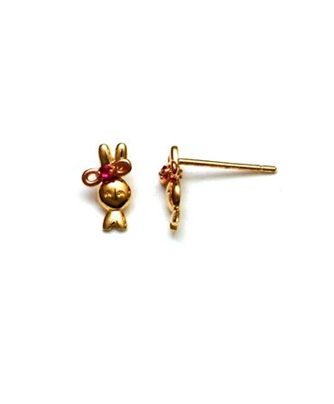 BOUCLES OR LAPIN RUBIS