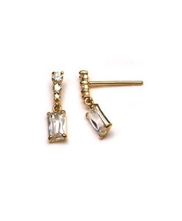 Boucles Pendantes Or Jaune 750/1000 Rectangle + Oxyde de Zirconium
