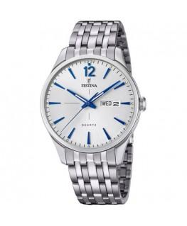 Montre FESTINA Homme Bracelet Acier Fond Blanc Aiguilles Bleues