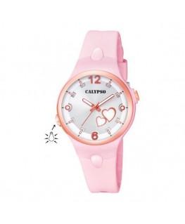 Montre CALYPSO Ado Bracelet Silicone Rose Fond Argenté et Coeurs