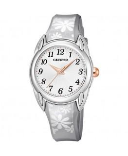 Montre CALYPSO Ado Bracelet Gris Fond Blanc