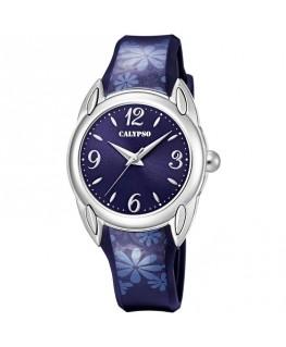 Montre CALYPSO Ado Bracelet Cuir Bleu Cadran Fond Bleu