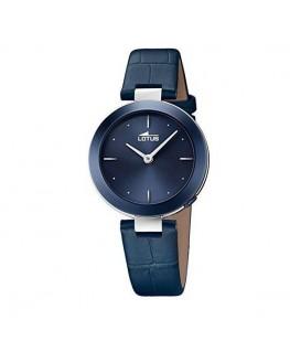 Montre Lotus dame bracelet cuir bleu et fond bleu