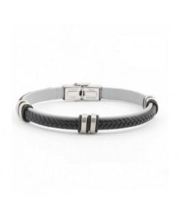 Bracelet LOTUS Homme Acier Cuir Noir