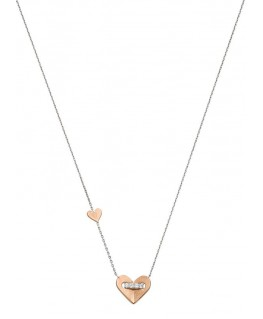 Collier Bicolore Or 375 Coeur Rose Oz