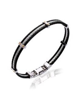 Bracelet Acier Cable + Vis Plaqué Or