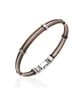 Bracelet Acier Marron + Vis Plaqué Or