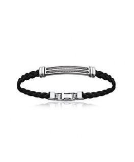 Bracelet Acier Tressé Noir + Plaque Acier