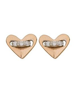 BOUCLES OR BIC TIGE OG COEUR ROSE OZ 375