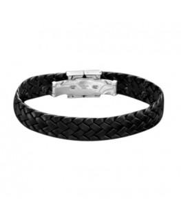 Bracelet Acier Lotus Tressé Noir