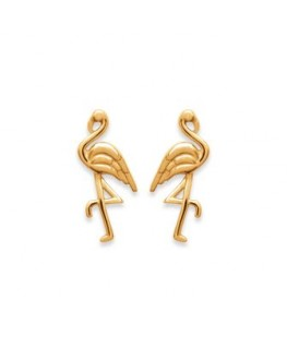 BOUCLES PLAQUE OR FLAMANT ROSE