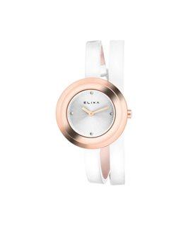 Montre ELIXA FINESSE Dame Bracelet Cuir Blanc Cadran Doré