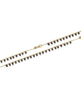 Bracelet Plaqué Or avec pierres synthétiques noires