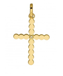 Pendentif Or Jaune Croix Perlée Diamant