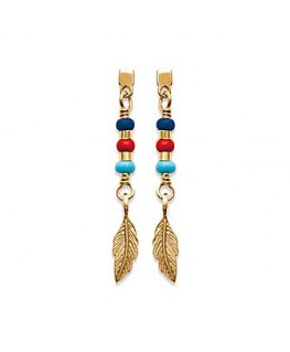 BOUCLES PLAQUE OR PLUME COLORE