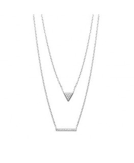 Collier Argent Deux Rangs Triangle Plus Barre Oz