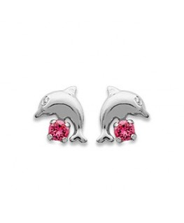 BOUCLES ARGENT DAUPHIN STRASS ROSE