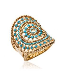 Bague plaqué or avec des pierres bleues
