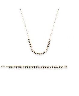 Collier Plaqué Or Perle Noir
