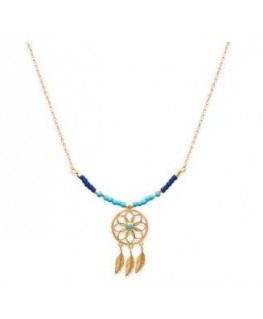 COLLIER PL-OR PERLE BLEU ATTRAPE REVES