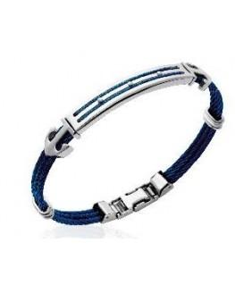 Bracelet homme acier et câble bleu