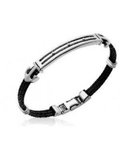 Bracelet homme acier et câble noir