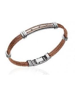 Bracelet acier homme cable marron