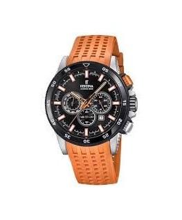 Montre FESTINA Homme Bracelet Cuir Orange Fond Et Cadran Noir