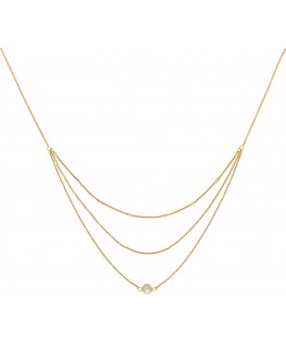Collier Or Jaune 750 Multi- Rangs Perle De Culture