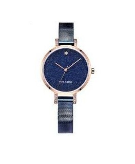 MONTRE DAME MINI FOCUS DORE B-METAL BLEU
