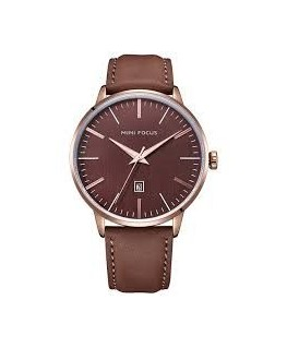 MONTRE HOMME MINI FOCUS DORE CUIR MARRON
