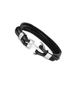 Bracelet Acier/Cuir Lotus Homme Ancre