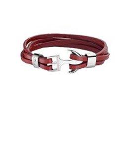 Bracelet Cuir Rouge Lotus Ancre