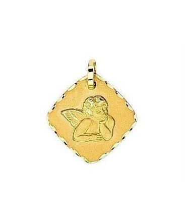 MEDAILLE OR ANGE CARREE DIAMANTEE
