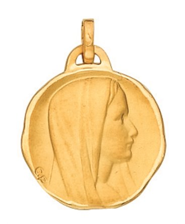 MEDAILLE OR 750 VIERGE PROFIL DROIT