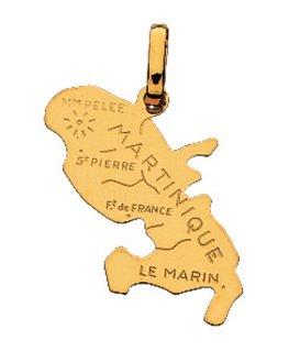 Pendentif Or Jaune 750 Carte Martinique