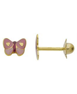 BOUCLES OR VIS PAPILLON ROSE