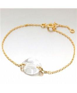 Bracelet Plaqué Or Cristal Oval Blanc