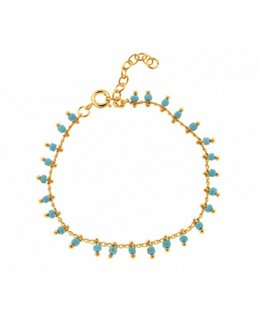 Bracelet Plaqué Or Beads Turquoise