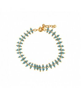 Bracelet Plaqué Or Double Beads Turquoise
