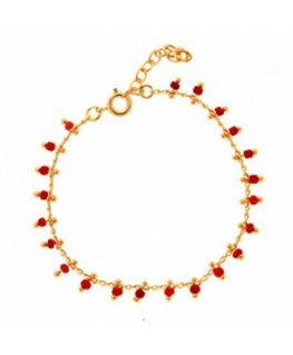 Bracelet Plaqué Or Beads Corail